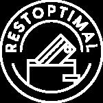 Logo Restoptimal format cercle représentant une assiette et au milieu une représentation d'un cheque et une enveloppe au milieu du cercle.
