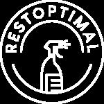 Logo Restoptimal format cercle représentant une assiette et au milieu une représentation d'une bouteille de détergeant au milieu du cercle.