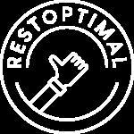 Logo Restoptimal format cercle représentant une assiette et au milieu une représentation d'une main avec un pousse levé au milieu du cercle.