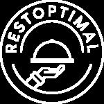 Logo Restoptimal format cercle représentant une assiette et au milieu une représentation d'une main portant une assiette sous cloche au milieu du cercle.