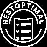 Logo Restoptimal format cercle représentant une assiette et au milieu une représentation d'une to-do liste au milieu du cercle.